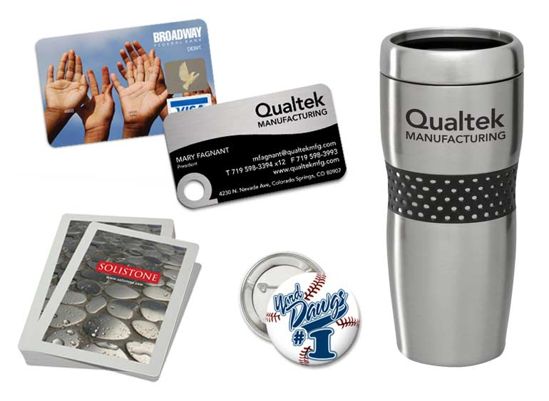 Promotional Products Debit Card, Metal Business Card, Travel Mug, Card Deck, Button Pins